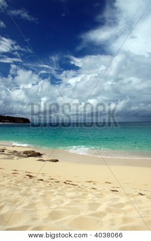 Caribbean Beach With Approaching Storm