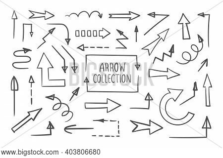 Hand Drawn Vector Arrows. Collection Of Vector Arrows. Arrows Icons Set. Vector Illustration