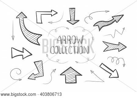 Arrows Icons. Collection Of Hand Drawn Arrows. Handmade Sketch. Arrows Icons Set. Hand Drawn Pointer