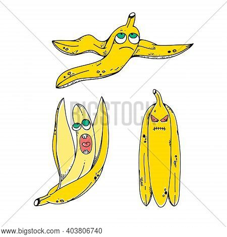 Cartoon Bananas. Peel Banana, Yellow Fruit And Bunch Of Bananas. Tropical Fruits, Banana Snack Or Ve