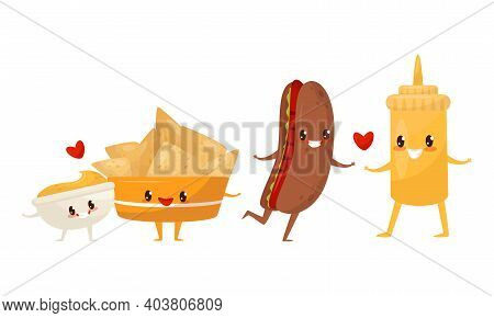 Kawaii Food Pairs In Love With Nachos And Hot Dog Holding Hands Vector Set