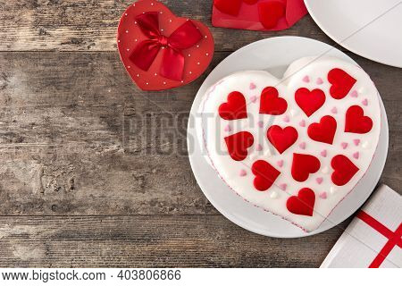 Heart Cake For St. Valentine's Day, Mother's Day, Or Birthday, Decorated With Sugar Hearts