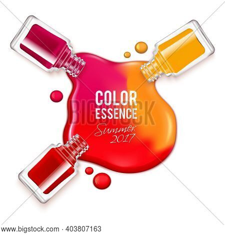 Spilled Colorful Nail Polish And Opened Containers On White Background Realistic Vector Illustration