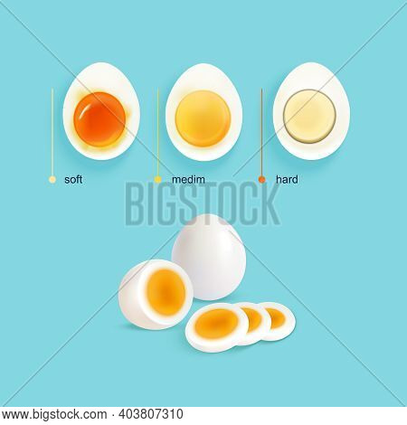 Boiled Eggs Infographical Concept With Three Illustrated Stages Of Egg Boiling With Slices And Text