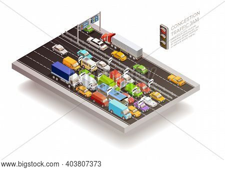 Traffic Jam Isometric Top View Design Concept With Stoplight Cars And Trucks On Multilane Roadway Ve