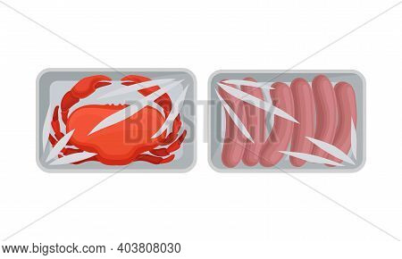 Crab And Sausages In Plastic Serving Tray Vector Set