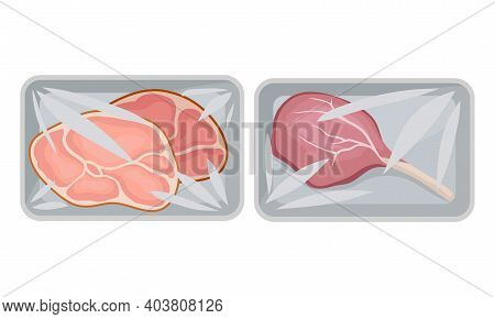 Pork Tenderloin And Beef Rib In Plastic Serving Tray Vector Set