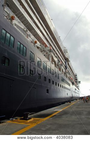 Cruise Ship At Port In Caribbean