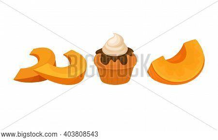 Sweet Pumpkin Foodstuff With Baked Cupcake Vector Set