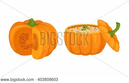 Stuffed With Rice Pumpkin As Seasonal Food Vector Set