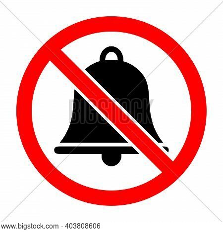 Bells Is Prohibited. No Bells Icon. Stop Or Ban Red Round Sign With Bells Icon. Vector Illustration.