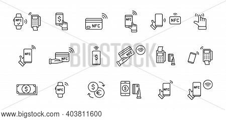 Set Of Nfc Payment Linear Icons. Pay Pass. Wireless Pay. Nfc Card Payment. Nfc Technology. Customer