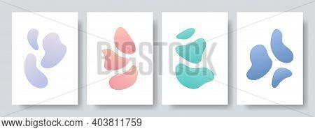 Set Of Abstract Art Background. Modern Trendy Blotch Shape. Liquid Shape Elements. Fluid Dynamical C