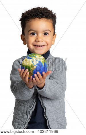 Close Up Conceptual Portrait Of Cute Afro American Boy Holding Earth  Atlas In Hands. Kid With Happy