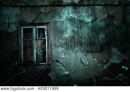 Horror Concept Background. Scary Shabby Old Texture Wall Of Ruined Grunge House And Closed Window Wi