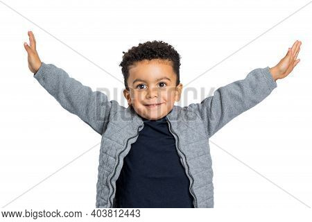 Close Up Studio Portrait Of  Afro American Boy Standing With Open Arms.isolated On White Background.