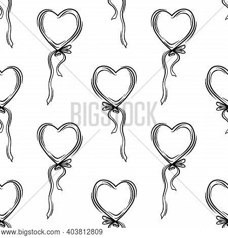 Valentines Day Theme Doodle Vector Seamless Pattern Of Hand Drawn Ballon With Heart Shape On A White