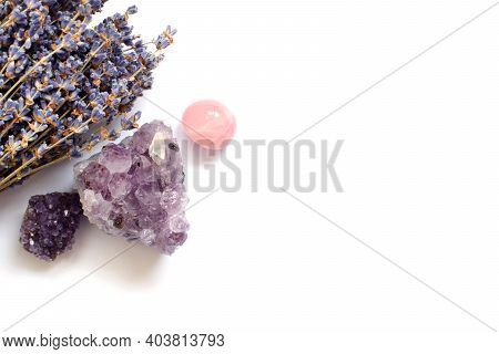 Beautiful Amethyst Crystals And Round Rose Quartz Stone With Dry Lavender Bouquet. Magic Amulets. Sp