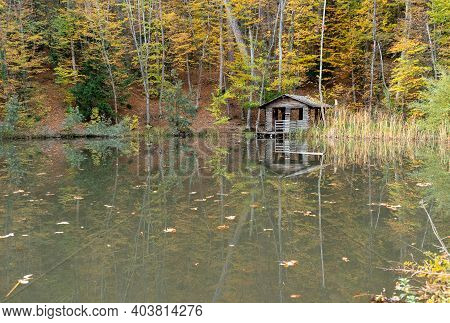Reflection Of A House In The Forest And Trees In The Lake, On An Autumn Day. Soft Focus