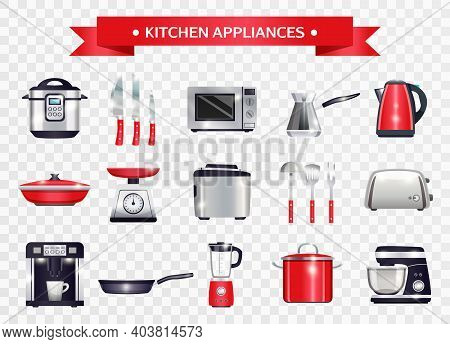 Set Of Kitchen Appliances Including Slow Cooker, Microwave, Coffee Machine, Scales On Transparent Ba