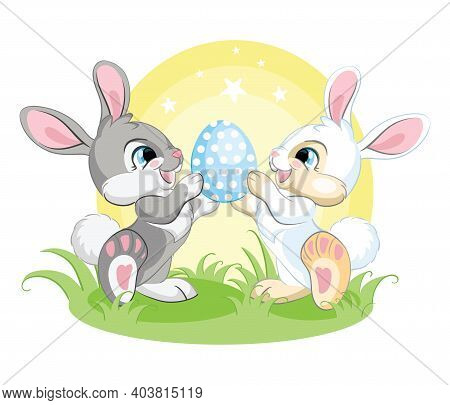 Cute White And Gray Bunnies Looking At The Easter Egg. Colorful Illustration Isolated On White Backg