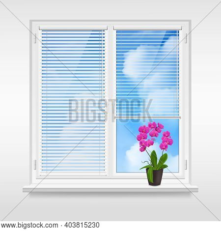 Home Window Design Concept With Horizontal Blinds And Purple Flower In Pot On Windowsill At Blue Sky