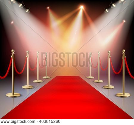 Realistic Red Carpet In Illumination Composition Event Or Award Ceremony For The Stars Vector Illust