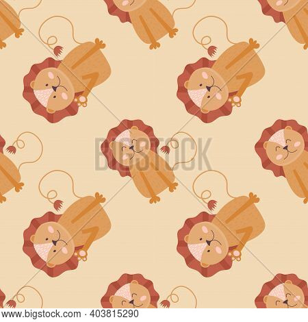 Scandinavian Seamless Pattern With Cute Lion Cubs On Beige Background. Vector Illustration Of Scandi