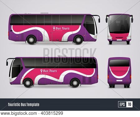 Touristic Bus Template In Realistic Style With Colored Views From Frontal Back Right And Left Sides