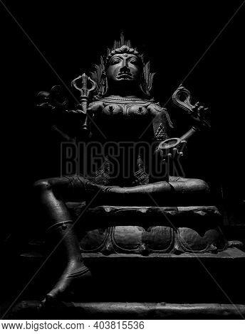 Black And White Goddess Kali Stone Carved Sculpture