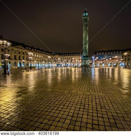 Night view of Place vendome during the curfew