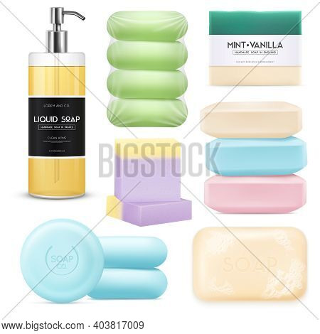 Realistic Soap Set With Colored Pieces Of Solid Soap And Spray With Liquid Soap Isolated On White Ba