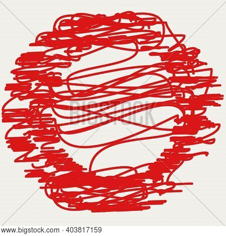 Distressed Circle Stamp Vector Red Color Overlay Textures. Thin And Bold Grunge Distress Template Ba