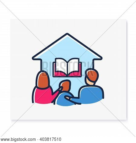 Homeschooling Family Color Line Icon. Parents And Child Spend More Time Together. Online Education C