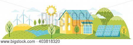 Green Energy An Eco Friendly Modern House. Alternative Energy. Environmentally Friendly Landscape Wi