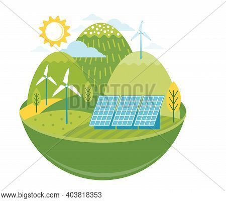 Green Alternative Energy. Friendly Environmentally Landscape With Ecological Infrastructure, Solar P
