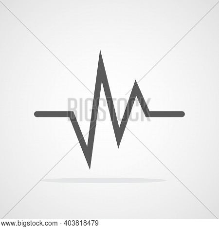 Gray Heartbeat Icon In Flat Design. Vector Illustration. Heartbeat Sign Isolated.
