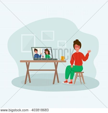 Grandma With A Laptop. Concept Of Home Office, Apartment Interior. Illustration Of People With A Com