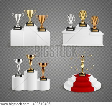 Set Of Trophies Including Cups And Figurine On Pedestals Realistic Design On Transparent Background