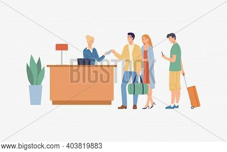 The Lobby With The Tourists In The Queue. Vector Modern Illustration.