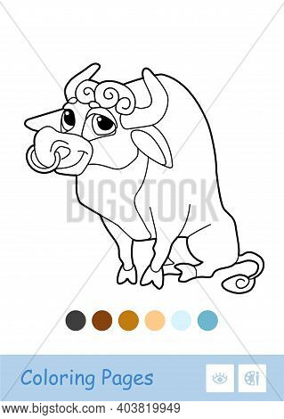 Colorless Vector Image Of A Bull Isolated On White