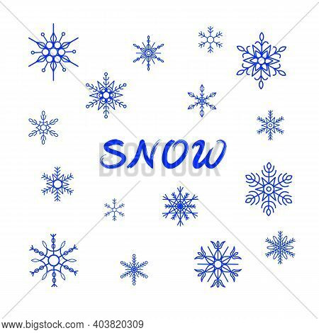 Set Of Various Snowflakes, World Snow Day, Different Symmetric Hexagon Symbols, Ornate Abstract Shap