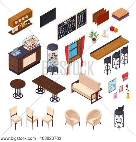 Cafe Interior Restaurant Pizzeria Bistro Canteen Isometric Elements Set Of Isolated Furniture And Sh