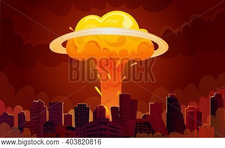 Downtown City Center Skyscrapers With Bright Orange Fiery Nuclear Explosion Mushroom Clouds Retro Ca