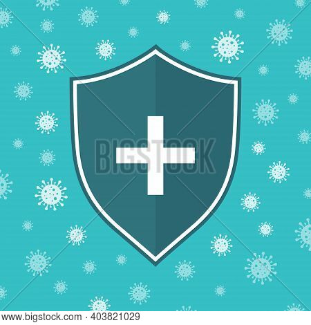 Icon Of Shield Anti Virus System. Shield Of Immune Against Germ, Flu, Bacteria. Concept Of Protectio