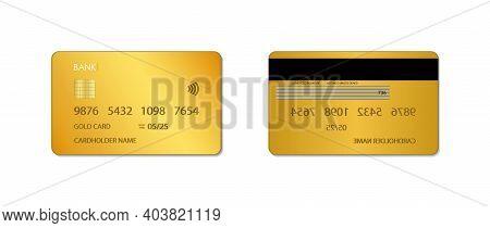 Gold Credit Card. Mockup Of Golden Bank Card. Design Of Vip Plastic Card. Template Of Realistic Debi