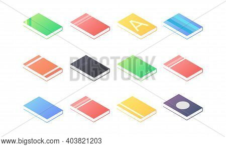 Book Isometric - Set Of Lying Paperback Literature With Various Hardcover.