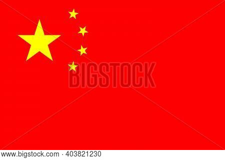 China Flag. Icon Of Chinese Nation. Red Flag With Yellow Stars In Circle. Official Banner Of Nationa