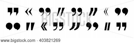 Mark Of Quotation. Icons Of Quote For Speech. Comma - Sign Punctuation For Blockquote, Text, Discuss