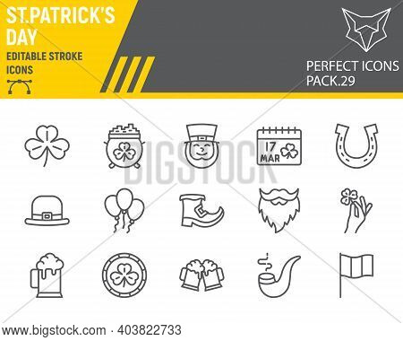 St. Patricks Day Line Icon Set, Holiday Collection, Vector Graphics, Logo Illustrations, St. Patrick